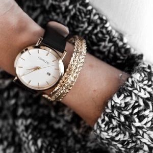 Charlize Black and Gold Watch